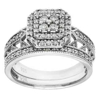 Cambridge 10k White Gold 1/2ct TDW Emerald Shape Diamond Bridal Set