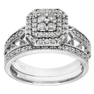 Cambridge 10k White Gold 1/2ct TDW 2-piece Diamond Ring Set (I-J, I1-I2)