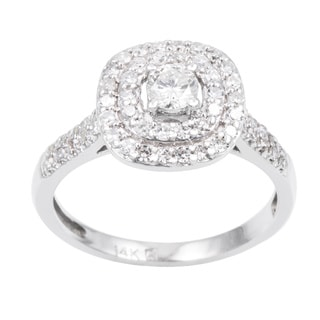 Cambridge 14k White Gold 3/5ct TDW Cushion Shape Halo Diamond Ring