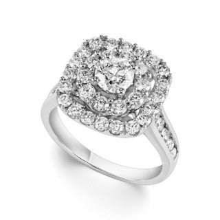 Cambridge 14k White Gold 2 1/10ct TDW Cushion Diamond Ring