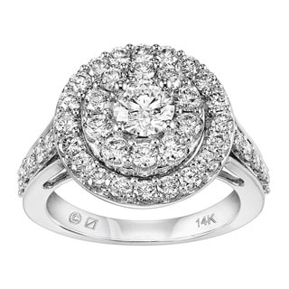 Cambridge 14k White Gold 2ct TDW Round Halo Diamond Ring