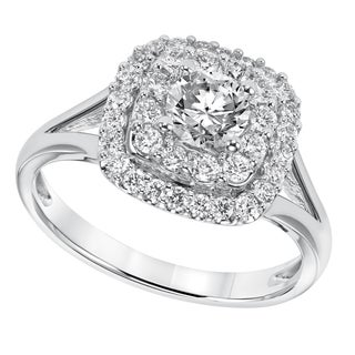 Cambridge 14k White Gold 1ct TDW Cushion Shape Diamond Ring