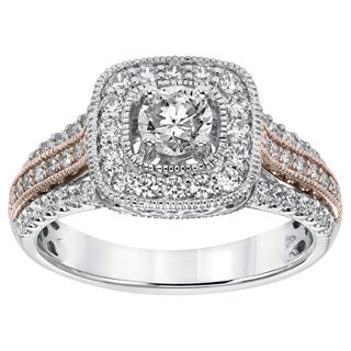 Cambridge 14k Rose and White Gold 1ct TDW Cushion Diamond Ring