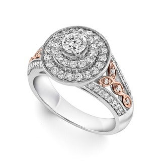 Cambridge 14k Rose and White Gold 1ct TDW Vintage Halo Diamond Ring