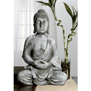 Serene Meditating Grey Resin Buddha Statue