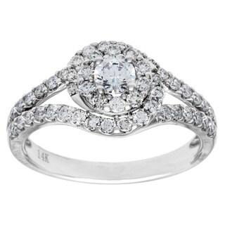 Cambridge 14k White Gold 1ct TDW Round Swirl Diamond Ring