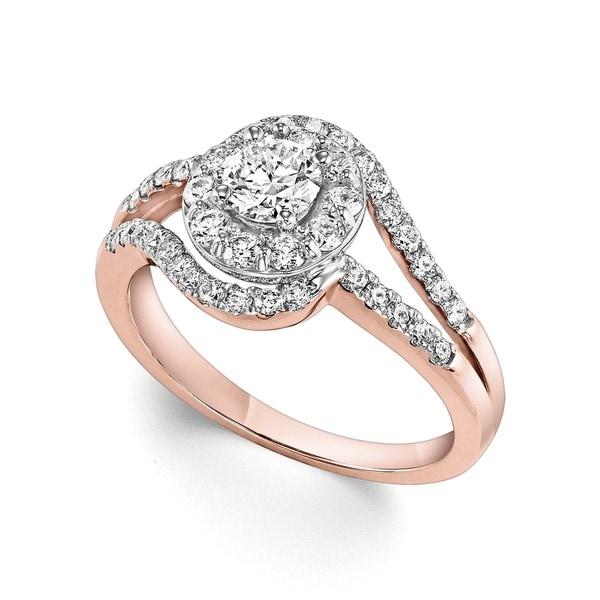 Cambridge 14k Rose Gold 1ct TDW Round Halo Diamond Ring