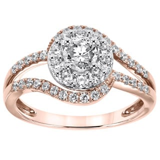 Cambridge 14k Rose Gold 1ct TDW Round Halo Diamond Ring