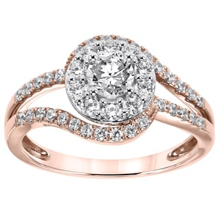 Cambridge 14k Rose Gold 1ct TDW Swirl Diamond Ring