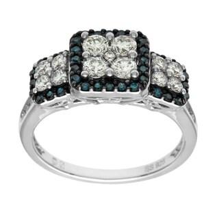 Cambridge 10k White Gold 1ct TDW Blue and White Diamond Princess Ring (I-J, I1-I2)