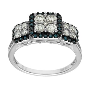 Cambridge 10k White Gold 1ct TDW Blue and White Diamond Ring (I-J, I1-I2)
