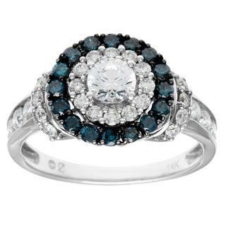 Cambridge 14k White Gold 1 1/2ct TDW Round Blue Diamond Ring