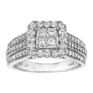 Cambridge 14k White Gold 1ct TDW Multi-stone Princess Diamond Engagement Ring (I-J, I1-I2)