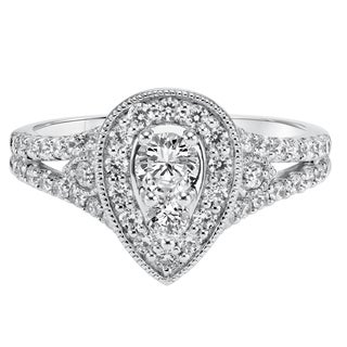 Cambridge 14k White Gold 1 1/8ct TDW Halo Pear Diamond Ring
