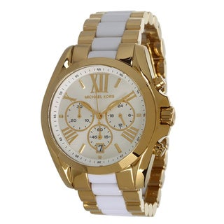 Michael Kors Women's Gold-Tone White Chronograph Watch