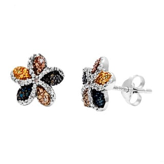 Sterling Silver Multicolored Diamond Accent Flower Stud Earrings