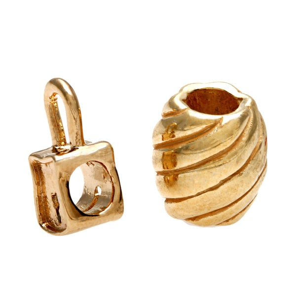 Sterling Essentials 14k Gold-plated Silver Padlock Bead with Bonus Bead