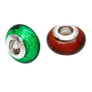 Sterling Essentials Silver Garland Green Italian Murano Glass Bead with Bonus Orange Bead