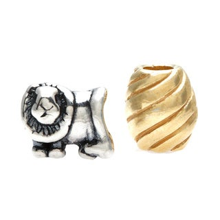 Sterling Essentials 14k Gold-plated Silver Lion Bead with Bonus Bead