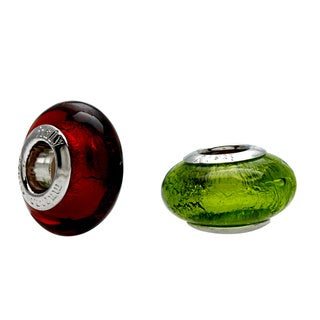 Signature Moments Silver Lime Green Italian Murano Glass Bead with Bonus Orange Bead