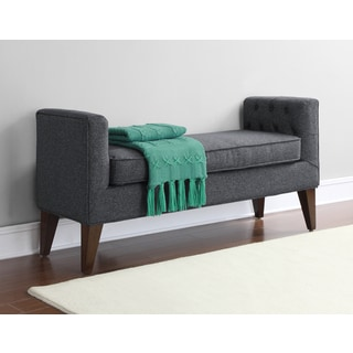 Riley Granite Grey Tufted Upholstery Bench