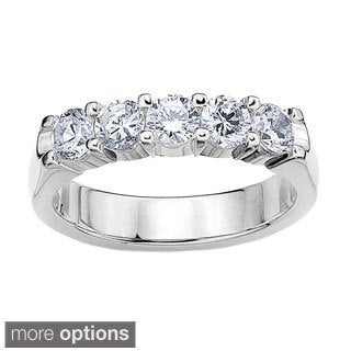 14K White or Yellow Gold 1ct TDW Machine-set Five Stone Round Diamond Wedding Band (H-I, I1-I2)