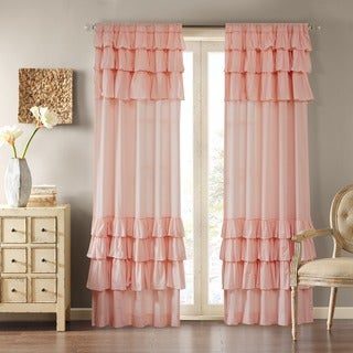 Madison Park Joycelyn Cotton 84-Inch Oversized Ruffle Curtain Panel