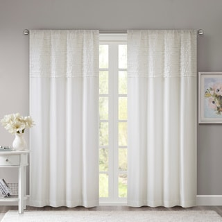 Madison Park Kylie Horizontal Ruffle Flippable Curtain Panel