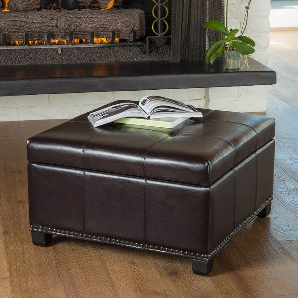 brown leather storage ottoman with tray 2