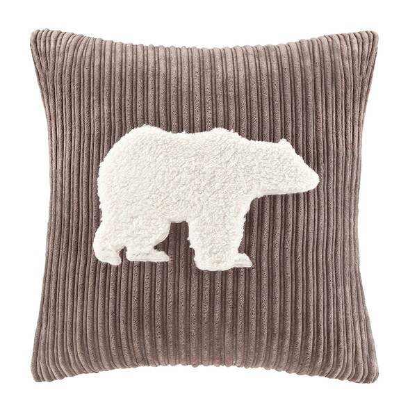 Woolrich Bear Applique Square Pillow