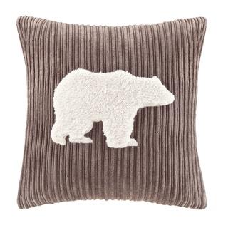 Woolrich Bear Applique Square Pillow