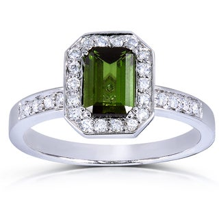 Annello 14k White Gold Green Tourmaline and 1/4 ct TDW Diamond Ring (G-H, SI1-SI2)