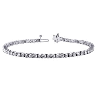 14k White Gold 6ct TDW 4-prong Brilliant Cut Round Diamond Tennis Bracelet (F-G, SI1-SI2)