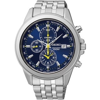 Seiko Men's Chronograph Blue Dial Yellow Accent Stainless Steel Watch