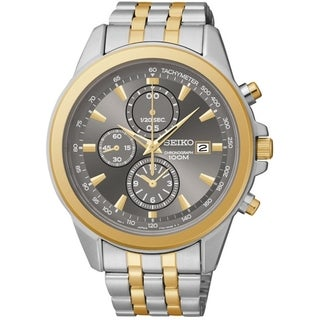 Seiko Men's Chronograph Grey Dial Two-Tone Stainless Steel Watch