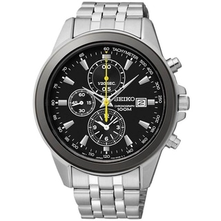 Seiko Men's Chronograph Black Dial Yellow Accent Stainless Steel Watch