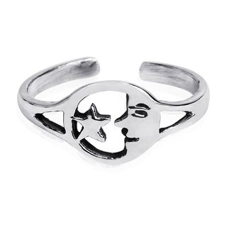 Handmade Goodnight Moon and Star Duo .925 Silver Toe or Pinky Ring (Thailand)