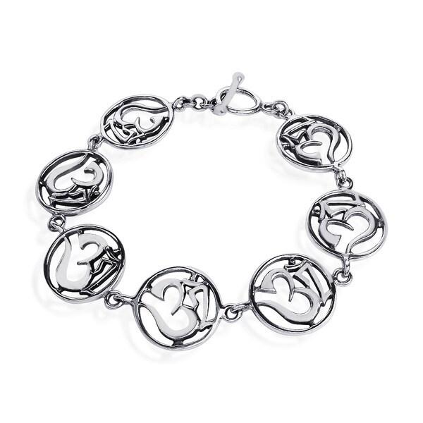 Encircled Aum or Om Mantra Sterling Silver Bracelet (Thailand)