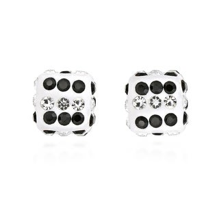 Sparkling 3D Cubic Zirconia Dice .925 Silver Stud Earrings (Thailand)