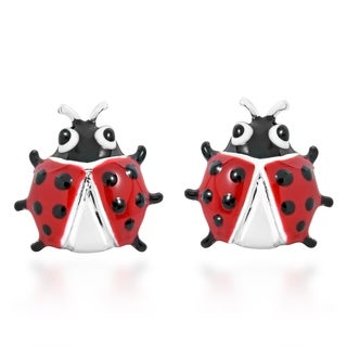 Whimsical Red Lady Bug Sterling Silver Earrings (Thailand)
