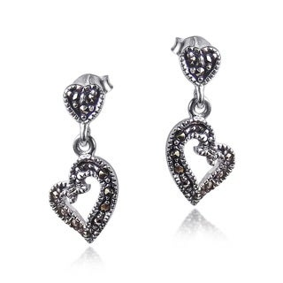 Curvy Heart Marcasite Encrusted .925 Silver Earrings (Thailand)