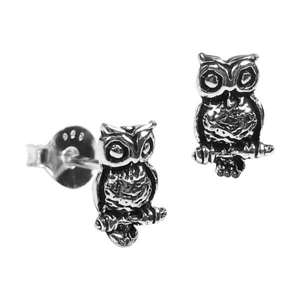 Petite Awake Owl .925 Silver Stud Earrings (Thailand)