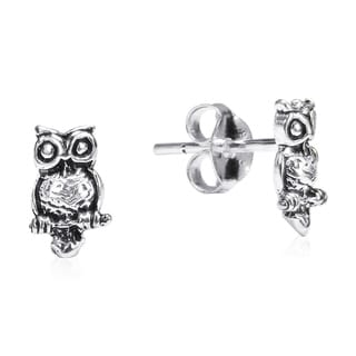 Petite Awake Owl .925 Silver Stud Earrings (Thailand)