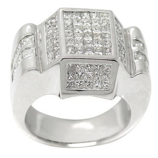 De Buman 14k White Gold 2 4/5ct TDW Pave Princess-cut Diamond Ring (H-I, I1-I2)