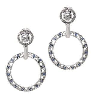 De Buman 14k White Gold 3/4ct TDW Blue and White Open Circle Diamond Earrings (H-I, I1-I2)