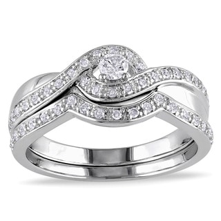 Miadora Sterling Silver 1/3ct TDW Diamond Bridal Ring Set (H-I, I2-I3) with Bonus Earrings
