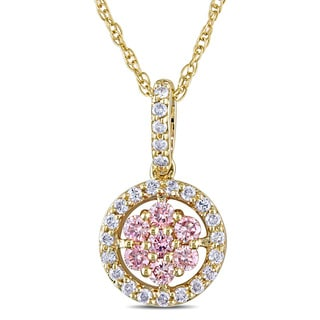 Miadora 14k Yellow Gold 1/4ct TDW Pink and White Diamond Halo Necklace (I1-I2)