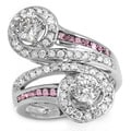 De Buman 14k White Gold 1 3/4ct TDW Diamond and Ruby Accent Ring (H-I, I1-I2)