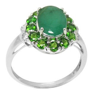 De Buman 14K White Gold Emerald and 2/5ct TDW Diamond Ring (H-I, I1-I2)