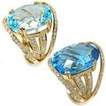 De Buman 14K Yellow Gold Blue Topaz and 4/5ct TDW Diamond Ring (H-I, I1-I2)